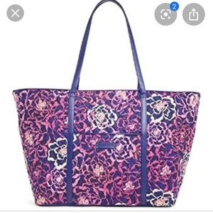 Trimmed Vera tote in katalina pink floral purse